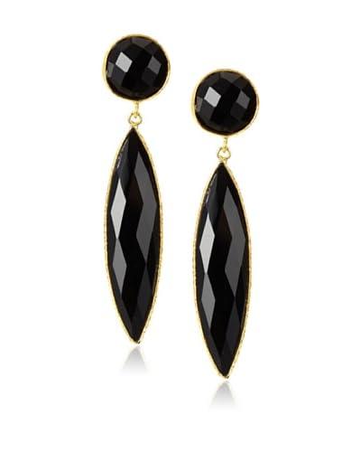 Saachi Double Drop Leaf Black Onyx Earrings