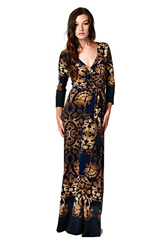 On Trend Paris Dress Navy Gold Damask 3/4 Sleeve Long Maxi Dress (Large) front-216302