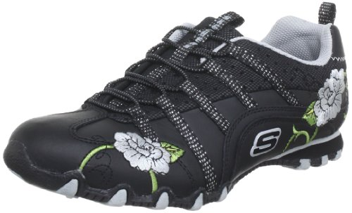 Skechers Women's Bikers Flower Girl Half Shoe Black & Grey UK 2
