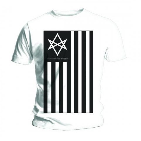 Maglietta ufficiale BRING ME THE HORIZON, colore: bianco, motivo: bandiera ANTIVIST tutte le misure Bianco bianco