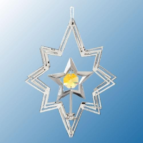 Chrome Plated Star In Star ... Hanging Sun Catcher Or Ornament..... With Yellow Color Swarovski Austrian Crystal front-650709