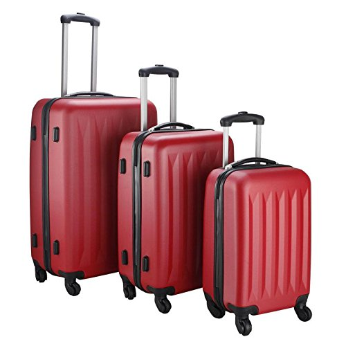 New 3 Pcs Luggage Travel Set Bag ABS Trolley Suitcase, Red (Giraffe Garment Bag compare prices)