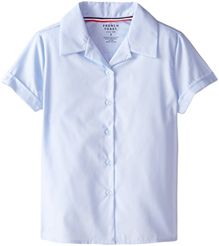 French Toast Big Girls' Short Sleeve Pointy Collar Blouse, Light Blue, 7