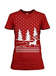 Women's Snow Falling Reindeer T Shirt ugly Christmas sweater tee for women from Crazy Dog Tshirts