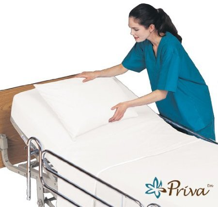 Priva All In One Hospital Bed In A Bag, Top Sheet, Bottom Sheet, Pillow Case And Blanket, White front-1044840