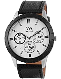 Watch Me White Dial Black Leather Watch For Men And Boys WMAL-062-W