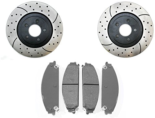 Prime Choice Auto Parts SCDPR63025630251058 Pair of Drilled Slotted Rotors and Ceramic Brake Pads (Dodge Challenger Breaks compare prices)