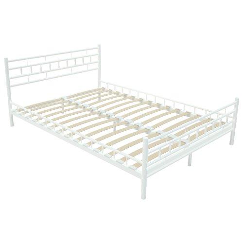 miadomodo lit en m tal blanc sommier lattes int gr 140 x 200 cm lignes droites. Black Bedroom Furniture Sets. Home Design Ideas