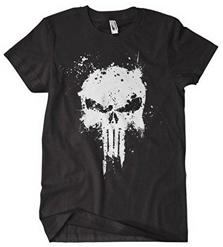 The Punisher T Shirt Marvel Comic ispirato T Shirt Teschio Logo Punisher Logo _ _ Splatter _ NERO nero X-Large
