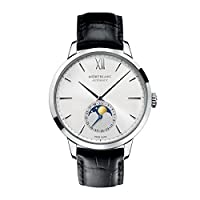 Mont Blanc Montblanc Meisterstuck Heritage Moonstruck Silver Dial Black Leather Mens Watch 110699 by Mont Blanc