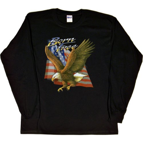 MENS LONG-SLEEVE T-SHIRT : WHITE - LARGE - Born Free - Patriotic Eagle US Flag Biker