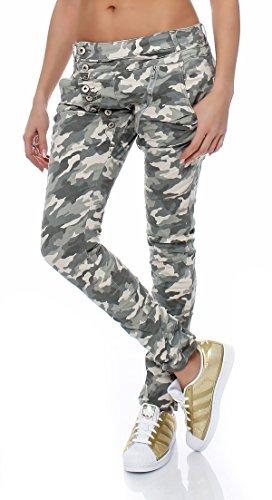 Skutari-Harem pantaloni sui fianchi Jeans da donna in denim Militare Medium