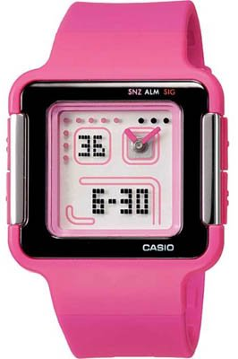 Casio Women's Quartz Watch with White Dial Analogue - Digital Display and Pink Resin Strap LCF-20-4DR