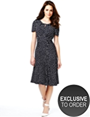 Petite Spotted Ruched Skater Dress