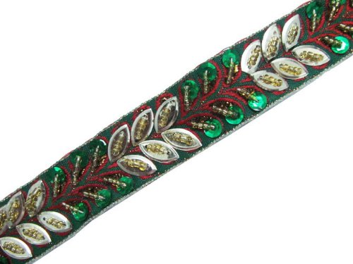 4.5 YD HAND BEADED TRIM GREEN RED SEQUIN RIBBON SEWING LACE BORDER CRAFT