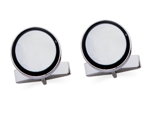 Mother of Pearl and Onyx Round Cuff Links