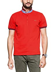 Zovi Men's Cotton Flag Red Solid Pique Knit Polo T-shirt With Navy Striped Mandarin Collar (11049006801)