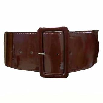 "Luxury Divas Brown Patent Leather 3"" Wide Elastic Corset Waist Belt"