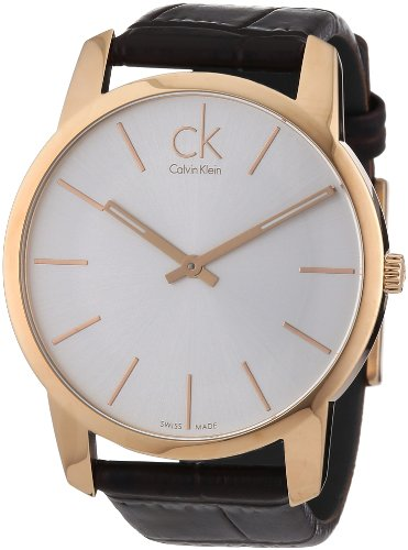 Calvin Klein Men's Quartz Watch Calvin Klein City K2G21629 PVD rosagold with Leather Strap