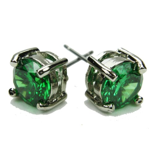8mm Stud Earrings, Emerald-Colored CZs, Post
