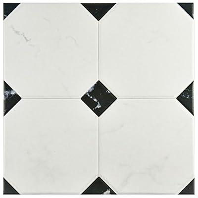 """SomerTile FEM13BTB Areba Ceramic Floor and Wall Tile, 13.125"""" x 13.125"""", Black/White"""