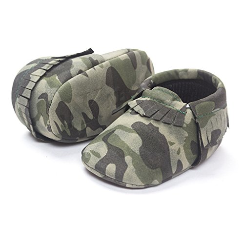 5. LiveBox Infant Baby Moccasins Soft Sole Army Camouflage Anti-Slip Tassels Prewalker Toddler Shoes