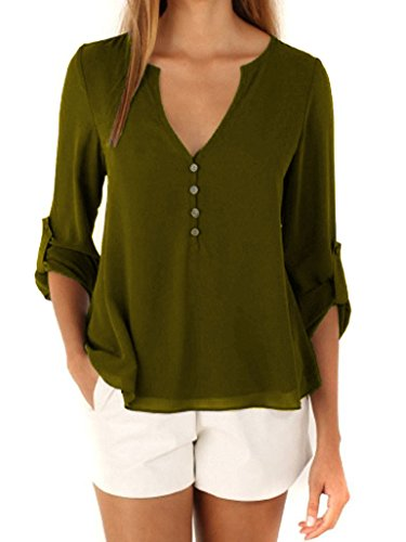 Bluetime Women's V Neck High Low Button Detail Dip Back Chiffon Blouse Top Shirt