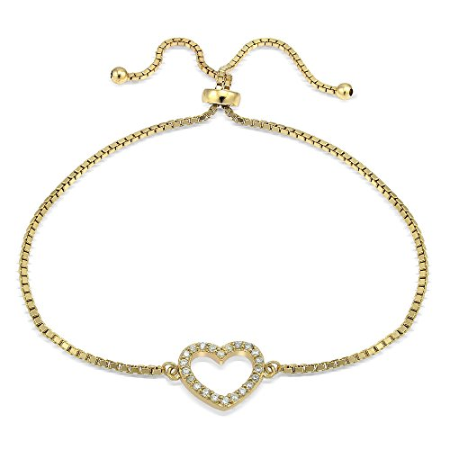 Hoops & Loops Flash Gold Tone over Sterling Silver Cubic Zirconia Open Heart Adjustable Bracelet (Hook And Loop Cable Ties 9 Inch compare prices)
