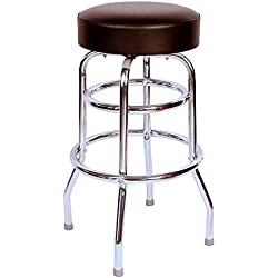 "Budget Bar Stools 0-1952BLK Commercial Grade Restaurant Swivel Bar Stool, 17"" L x 17"" W x 30"" H, Jet Black"