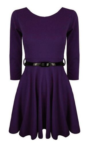 Funky Boutique Women's 3/4 Sleeve Skater Dress Purple ML 12-14 (Daphne Costume)