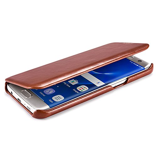 ICARER Samsung GALAXY S7 Edge ケース 本革 ビンテージレザー 全3色 レッド 【日本正規代理店品】