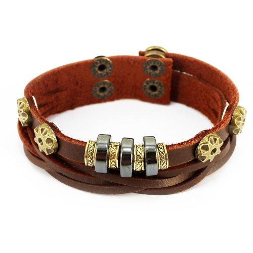 piel-autentica-pulsera-de-cuentas-spark-woven-golden-boton-tribal-wrap-pulsera