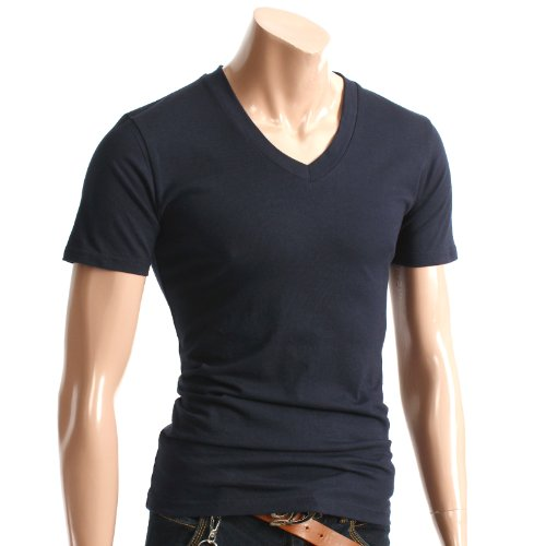 Mens Casual Short Sleeve Single Color V neck T-shirt NAVY S (070D)