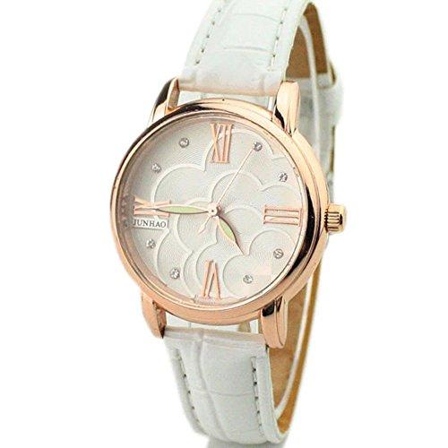 Zps(Tm) Roman Rhinestone Noctilucence Quartz Wrist Watch(White)