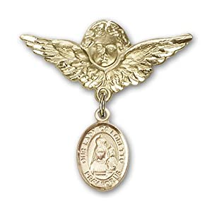 14K Gold Baby Badge with Our Lady of Loretto Charm and Angel with Wings Badge Pin