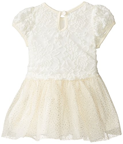 887847662093 - Nannette Baby-Girls Newborn Lace Dress with Printed Glitter Mesh Skirt Detail, Off-White, 6-9 Months carousel main 1