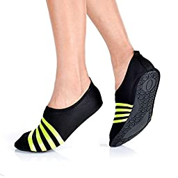 Flexible Barefoot Water Skin Shoes for Beach Swim Surf Yoga Exercise (Large 8.5-9.5 B(M) US, Black)