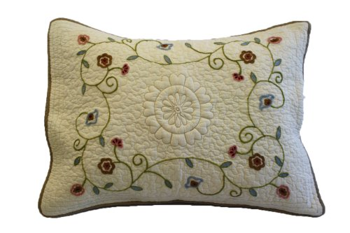 Nostalgia Lake Forest 100-Percent Cotton Fabric and Fill, Chain Stitch Embroidery Standard Pillow Sham with Decorative Quilting