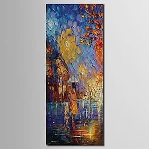 Dee mano case pittura ad olio paesaggio bambina in pioggia for 300 case piedi quadrati