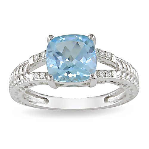 Sterling Silver Blue Topaz and Diamond Ring (.04 cttw), Size 8