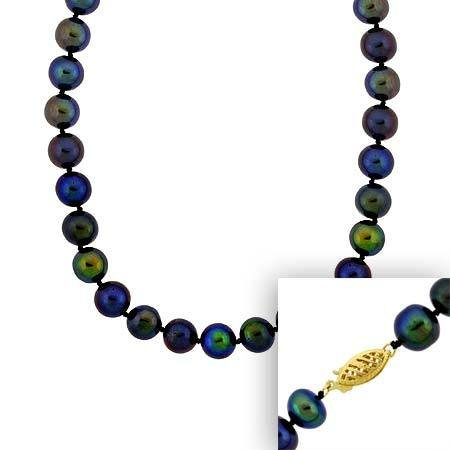 6.5-7mm Round Hand Knotted Genuine Freshwater Cultured Iridescent Black Pearl 14k Gold Filigree Clasp Necklace 18