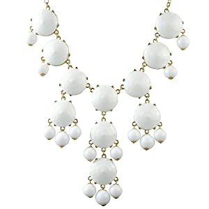 White Bubble Necklace, Chunky Necklace, Statement Necklace (Fn0508- Pure White)