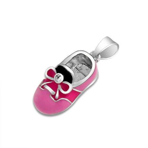 Bling Jewelry 925 Silver Red Pink Saddle Shoe Charm Cz Enamel Baby Shoe Pendant