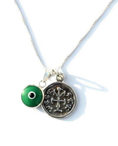 Green Evil Eye & Winner Solomon Seal Amulet Silver Necklace