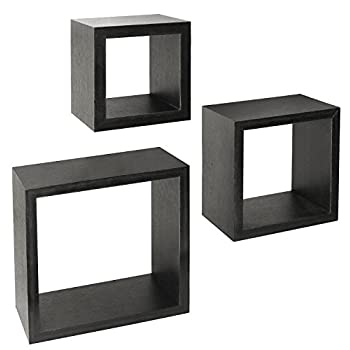 Greenco Set of 3 Floating Cube Shelves, Espresso Finish