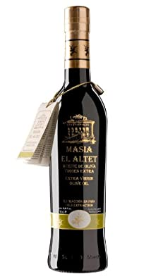 Masia el Altet High Quality- Award Winning Cold Pressed EVOO Extra Virgin Olive Oil, 2013-2014Harvest, 17-Ounce Black Glass Bottle