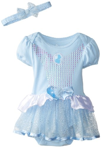 Disney Baby Baby-Girls Infant Cinderella Dress With Headband, Blue, 18 Months front-763434