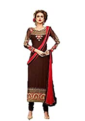 Desi Girl Fashion Store Women's Georgette Unstitched Dress Material (DGFS01_Brown_Freesize)