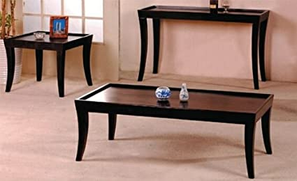 3 pc espresso finish wood coffee table set with raised edges