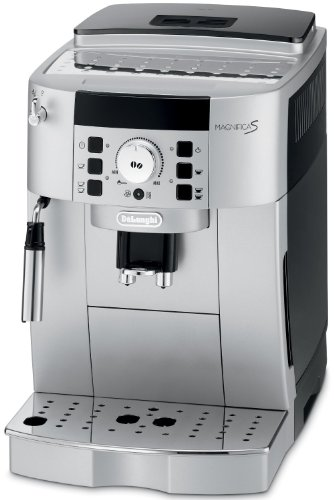 DeLonghi Magnifica XS Compact Automatic Cappuccino Latte and Espresso Machine, Patented Direct-to-Brew System, Lower-Pitch Conical Burr Grinder, Settings for Coffee Strength and Cup Size ,Uses Tap Water, Energy-Saving Switch, Height Adjustable Coffee Spouts, Decalcification System, 60 Ounce Water Tank with Water Level Indicator, 8.8 Ounce Coffee Bean Container